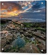 Blue And Gold Tidepools Acrylic Print