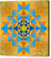Blue And Gold Yantra Meditation Mandala Acrylic Print
