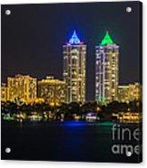 Blue And Green Diamond Twin Towers Acrylic Print
