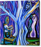 Blue And Purple Girl With Tree And Owl Acrylic Print