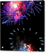 Blue And Red Firework Disks Acrylic Print