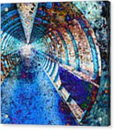 Blue And Rust Grunge Tunnel Acrylic Print