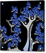 Blue And Silver Fractal Tree Abstract Artwork Acrylic Print