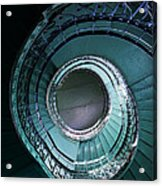 Blue And Silver Spiral Stairs Acrylic Print