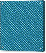 Blue And Teal Diagonal Plaid Pattern Textile Background Acrylic Print