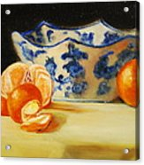 Blue And White Bowl And Tangerines Acrylic Print by Ann Simons