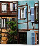 Blue And Yellow Buildings In La Petite Venise In Colmar France Acrylic Print