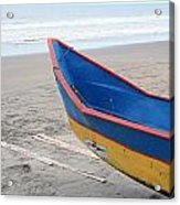 Blue And Yellow Fishing Boat On The Beach Acrylic Print