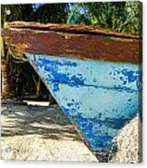 Blue Beached Canoe Acrylic Print