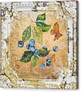 Blue Berries And Butterfly On Vintage Tin Acrylic Print