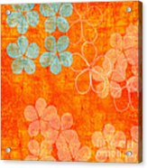 Blue Blossom On Orange Acrylic Print