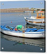 Blue Boat In Sozopol Harbour Acrylic Print