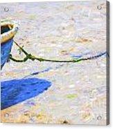 Blue Boat On Mudflat Acrylic Print