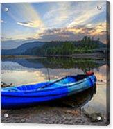 Blue Canoe At Sunset Acrylic Print