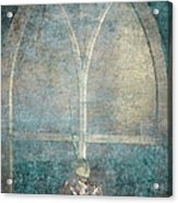 Blue Church Window And Hydrangea Acrylic Print