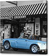 Blue Classic Car In Jamestown Acrylic Print by RicardMN Photography