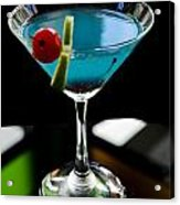 Blue Cocktail With Cherry And Lime Acrylic Print