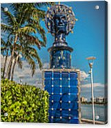Blue Crown Statue Miami Downtown Acrylic Print by Ian Monk