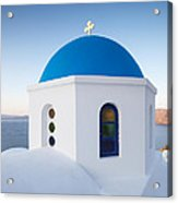 Blue Domed Church In Oia Santorini Greece Acrylic Print by Matteo Colombo