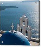 Blue Domed Church In Santorini Greece Acrylic Print