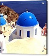 Blue Domes In Santorini Acrylic Print