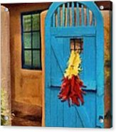 Blue Door And Peppers Acrylic Print