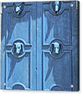 Blue Door Decorated With Wooden Animal Heads Acrylic Print