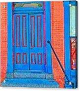 Blue Door On Red Brick Acrylic Print