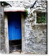 Blue Door  On Rustic House Acrylic Print