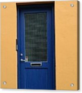 Blue Door Orange Wall Iceland Acrylic Print