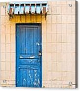 Blue Door With A Lock Acrylic Print