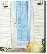 Blue Door With Pumpkin Acrylic Print