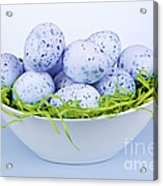 Blue Easter Eggs In Bowl Acrylic Print