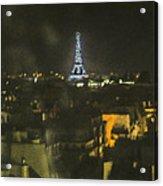 Blue Eiffel At Night Acrylic Print