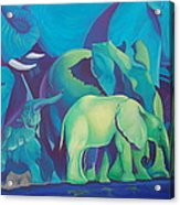 Blue Elephants Acrylic Print