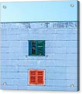 Blue Facade And Colorful Windows Acrylic Print