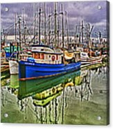 Blue Fishing Boat Hdr Acrylic Print