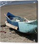 Blue Fishing Boat On The Beach Acrylic Print