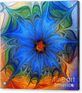 Blue Flower Dressed For Summer Acrylic Print by Karin Kuhlmann