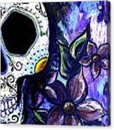 Blue Flower Skull Painting By Lovejoy Creations