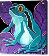 Blue Frog Purple Flower Acrylic Print