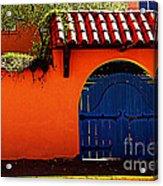 Blue Gate In Santa Fe Acrylic Print