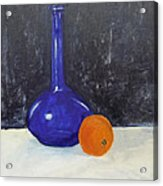 Blue Glass And Orange Acrylic Print by Peter Edward Green