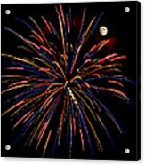 Blue Gold Pink And More - Fireworks And Moon Acrylic Print