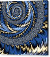 Blue Gold Spiral Abstract Acrylic Print