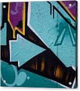 Blue Graffiti Arrow Square Acrylic Print