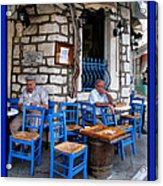 Blue Greek Taverna Acrylic Print