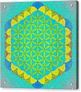 Blue Green Yellow Flower Of Life Acrylic Print
