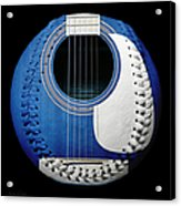 Blue Guitar Baseball White Laces Square Acrylic Print