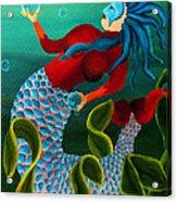 Blue Haired Mermaid Acrylic Print